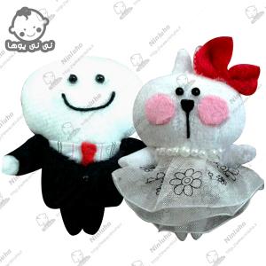 خرید عروسک آویز عروس و داماد خرگوش و کله گردالی